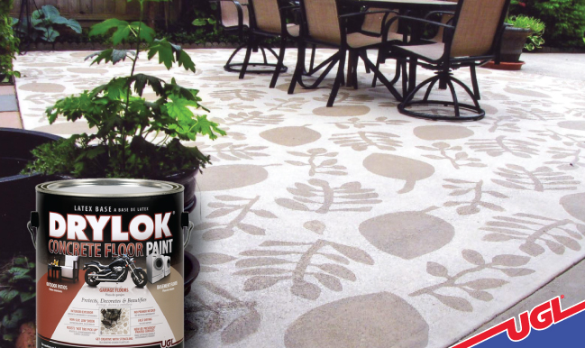 Add personality to concrete floors with stencils or pattern print rollers