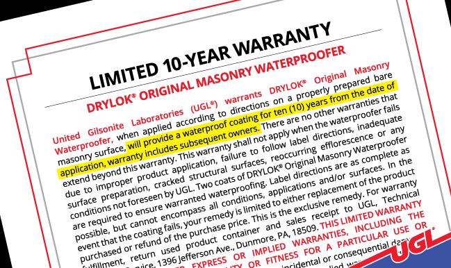 DRYLOK® Original 10 Year Warranty