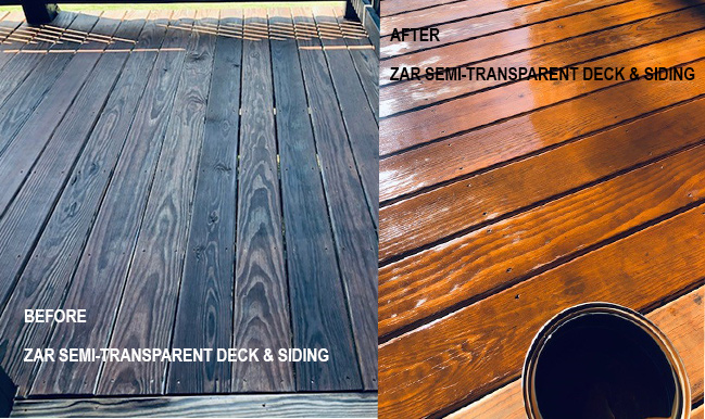 wood before and after ZAR deck and siding