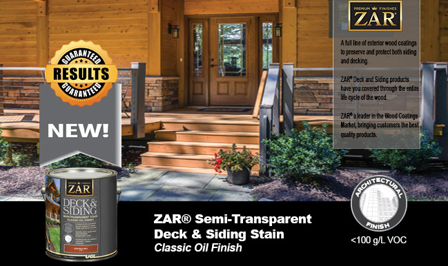 porch with ZAR semi-transparent deck and siding stain