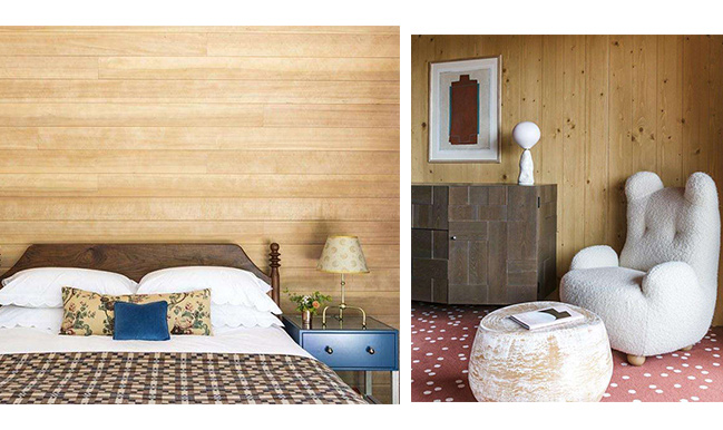 bedroom with light wood paneling