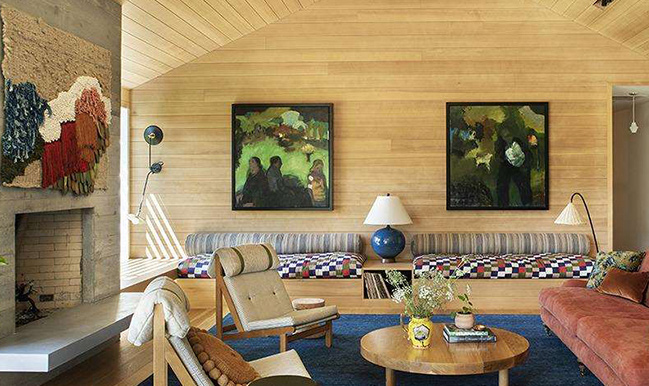 living room close up with wood paneling