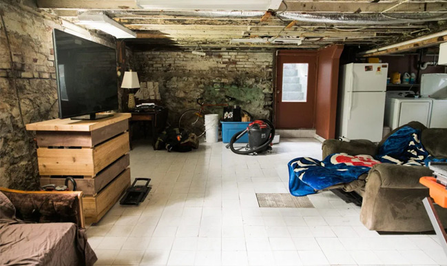 basement with walls crumbling